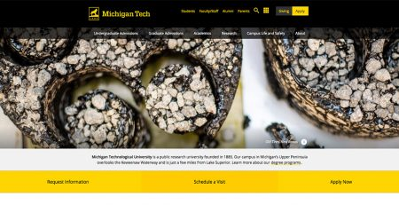 Michigan Tech website screen shot